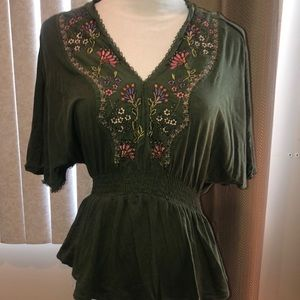 Anthropologie Tiny Green Shirt S Embroidered